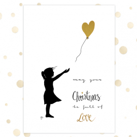 Kerstkaart 'May your Christmas be full of love - ballon' - goudfolie