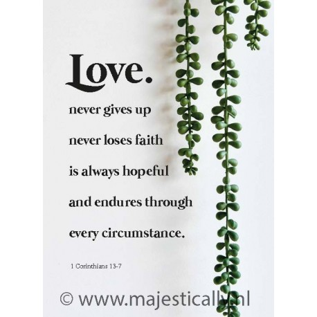 Metal Deco A3 'Love never gives up' - 552598M-A3 - Metal Deco bij MajesticAlly